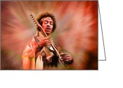 Angela Stanton Greeting Cards - Jimi Hendrix Electrifying Guitar Play Greeting Card by Angela A Stanton