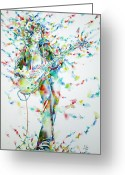 Playing The Guitar Greeting Cards - JIMMY PAGE PLAYING THE GUITAR - watercolor portrait Greeting Card by Fabrizio Cassetta