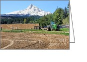 Tree-covered Greeting Cards - John Deere Tractor Mount Hood Mountain Greeting Card by Jennie Marie Schell