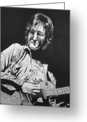 Featured Drawings Greeting Cards - John Lennon Greeting Card by Charles Rogers