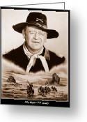 Strong Drawings Greeting Cards - John Wayne US Cavalry Greeting Card by Andrew Read