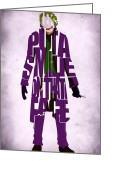 Poster Print Greeting Cards - Joker - Heath Ledger Greeting Card by Ayse Toyran