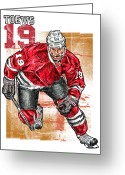 Hockey Mixed Media Greeting Cards - Jonathan Toews Greeting Card by Maria Arango