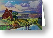 Pickup Painting Greeting Cards - Journey Along the Road to Infinity Greeting Card by Art West