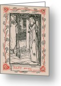 Maiden Drawings Greeting Cards - Juliet from Romeo and Juliet Greeting Card by Robert Anning Bell