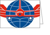 Airplane Greeting Cards - Jumbo Jet Plane Front Wings Globe Greeting Card by Aloysius Patrimonio