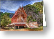 Buddhist Greeting Cards - Jungle Temple v2 Greeting Card by Adrian Evans