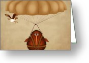 Bird Framed Prints Greeting Cards - Kev parachuting Greeting Card by Marlene Watson