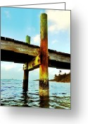 Florida Living Greeting Cards - Key Largo Pier Greeting Card by Benjamin Yeager