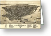 The Buffet Photo Greeting Cards - Key West Florida Map 1884 Greeting Card by Daniel Hagerman