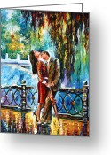 Leonid Afremov Greeting Cards - Kiss After The Rain new Greeting Card by Leonid Afremov