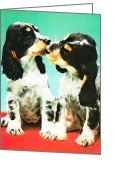 Spaniels Greeting Cards - Kiss Me - Cocker Spaniel Art by Sharon Cummings Greeting Card by Sharon Cummings