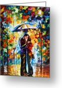 Leonid Afremov Greeting Cards - Kiss Under The Rain 2 Greeting Card by Leonid Afremov