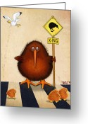 Bird Framed Prints Greeting Cards - Kiwi crossing Greeting Card by Marlene Watson