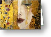 Piece Greeting Cards - Klimt Painting Greeting Card by Pg Reproductions