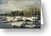 Ice-floe Greeting Cards - Klondike River Ice Break Greeting Card by Priska Wettstein