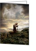 Prayer Warrior Greeting Cards - Kneeling Knight Greeting Card by Jill Battaglia