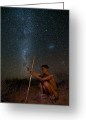 Ancient People Greeting Cards - Knowledge in the Sky Greeting Card by Basie Van Zyl