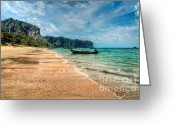 Fishing Boat Greeting Cards - Koh Lanta Beach Greeting Card by Adrian Evans