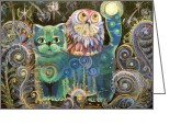 Magic Pastels Greeting Cards - Kot Bayun aka Cat the Luller  Greeting Card by Natalia Lvova