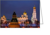 Archangel Greeting Cards - Kremlin Cathedrals At Night Greeting Card by Alexander Senin