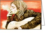 Established Mixed Media Greeting Cards - Kurt Cobain - stylised drawing art poster Greeting Card by Kim Wang