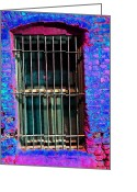 Kenneth James Greeting Cards - LA Window - keeping people out - or keeping people in v2 Greeting Card by Kenneth James