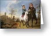 Riders Greeting Cards - Lady and Gentleman on Horseback Greeting Card by Aelbert Cuyp