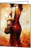 Person Greeting Cards - Lady in red  30 Greeting Card by Emerico Toth