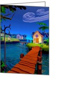 Kid Digital Art Greeting Cards - Lagoon Greeting Card by Cynthia Decker