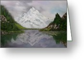 Ski Art Painting Greeting Cards - Lake Como Italy Greeting Card by Jean Walker