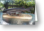Wood Sculpture Greeting Cards - Lake Sturgeon Greeting Card by Richard Goohs