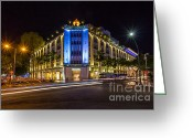 Colonial Scene Greeting Cards - Landmark colonial building Rex hotel in Saigon Greeting Card by Fototrav Print