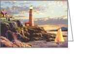 Sea Cottage Greeting Cards - Last Light Greeting Card by Ronald Chambers