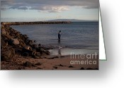 Cabin Wall Greeting Cards - Late Afternoon Angler - Maalaea-Maui Greeting Card by Paulette Wright