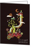 Kid Digital Art Greeting Cards - Late night party Greeting Card by Budi Satria Kwan