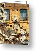 Lake Como Greeting Cards - Le Statue Greeting Card by Guido Borelli