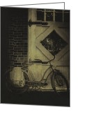 Old Bike Greeting Cards - Leaning Greeting Card by Margie Hurwich