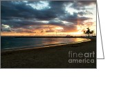 Sunset Posters Greeting Cards - Leeward Sunset Greeting Card by Jon Burch Photography