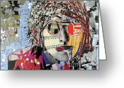 The Beatles Mixed Media Greeting Cards - Lennon Does Collage Greeting Card by Brian Buckley