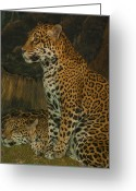 Black Leopard Greeting Cards - Leo and Friend Greeting Card by Jack Zulli
