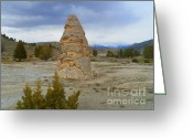 National Mixed Media Greeting Cards - Liberty Cap - Mammoth Hot Springs - Yellowstone National Park Greeting Card by Photography Moments - Sandi