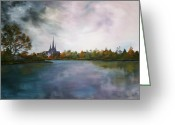Burials Greeting Cards - Lichfield Catherdral a view from Stowe Pool Greeting Card by Jean Walker