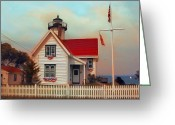 Usa Pyrography Greeting Cards - Lighthouse  Greeting Card by Christo Christov