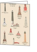 Canal Drawings Greeting Cards - Lighthouses of the Gulf Coast Greeting Card by Jerry McElroy