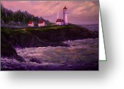 New Britain Painting Greeting Cards - Lightkeepers House at Heceta Head Greeting Card by Glenna McRae