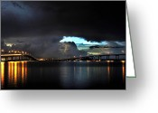 Storm Prints Greeting Cards - Lightning and the Cerulean Sky Greeting Card by Doug Heslep