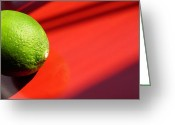 Eateries Greeting Cards - Lime on Red Greeting Card by Sarah Loft