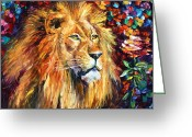 African Animals Painting Greeting Cards - Lion of Zion Greeting Card by Leonid Afremov