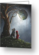 Old Tree Greeting Cards - Little Red Riding Hood NIGHT WITH THE LONE WOLF by Shawna Erback Greeting Card by Shawna Erback